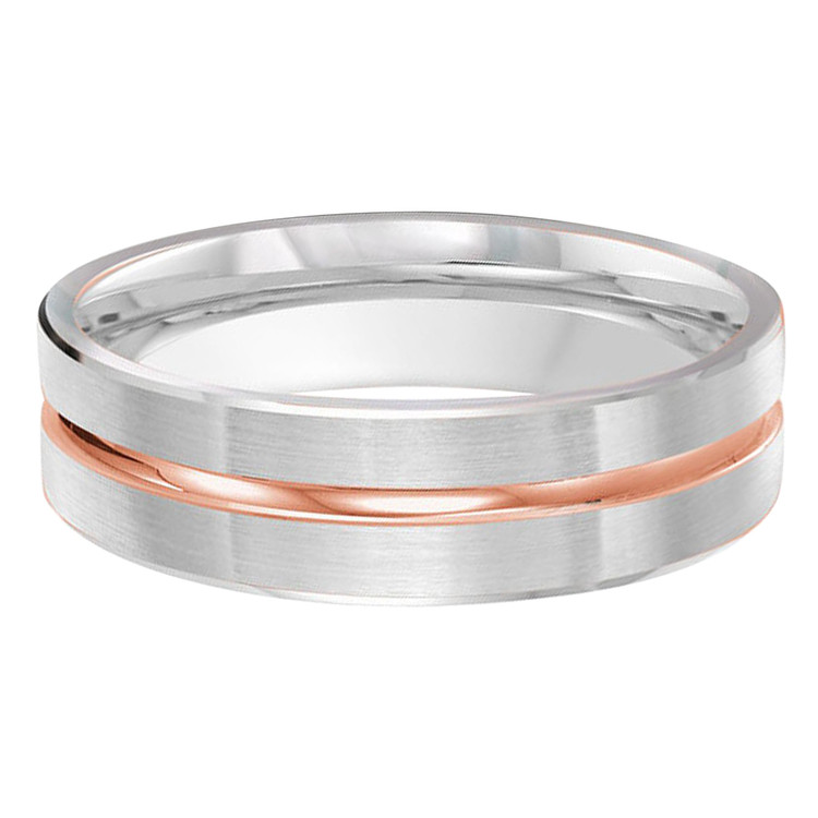 Mens 6 MM two-tone white gold band with high polish rose gold center groove (MDVB0438)