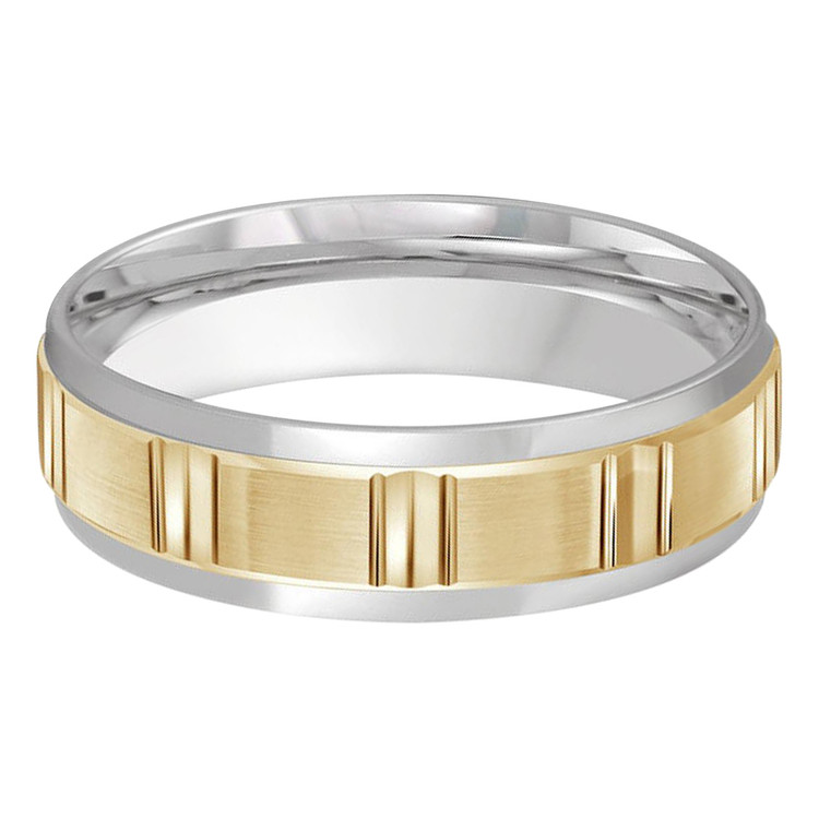 Mens 6 MM two-tone white and yellow gold band with satin finish vertical groove motif center (MDVB0440)