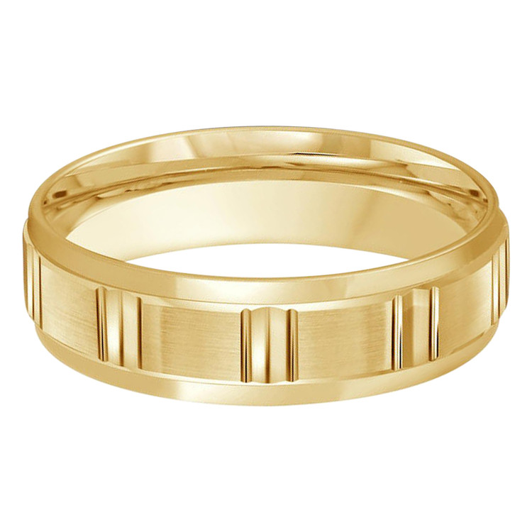 Mens 6 MM all yellow gold band with satin finish vertical groove motif center (MDVB0442)