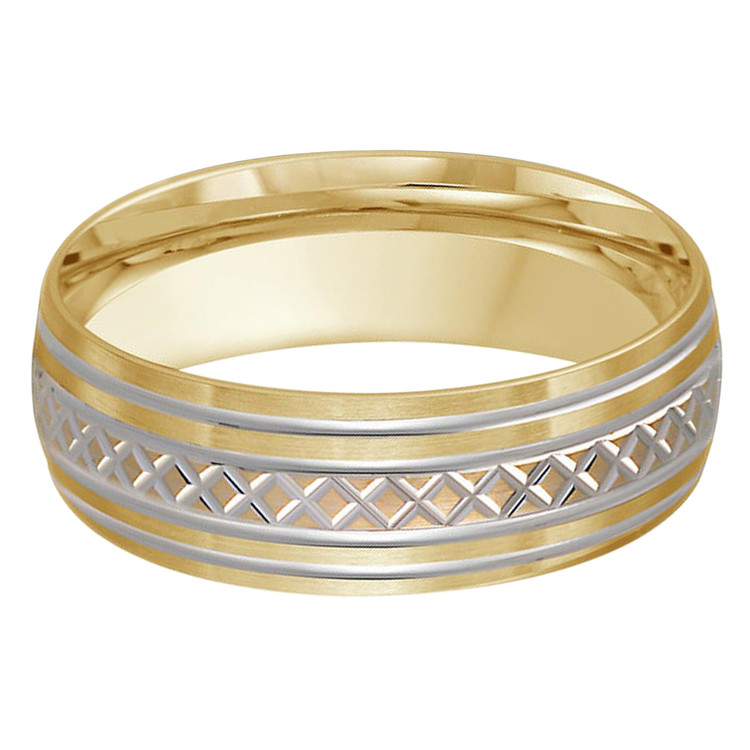 Mens 7 MM two-tone yellow and white gold band with criss-cross patterned center (MDVB0443)