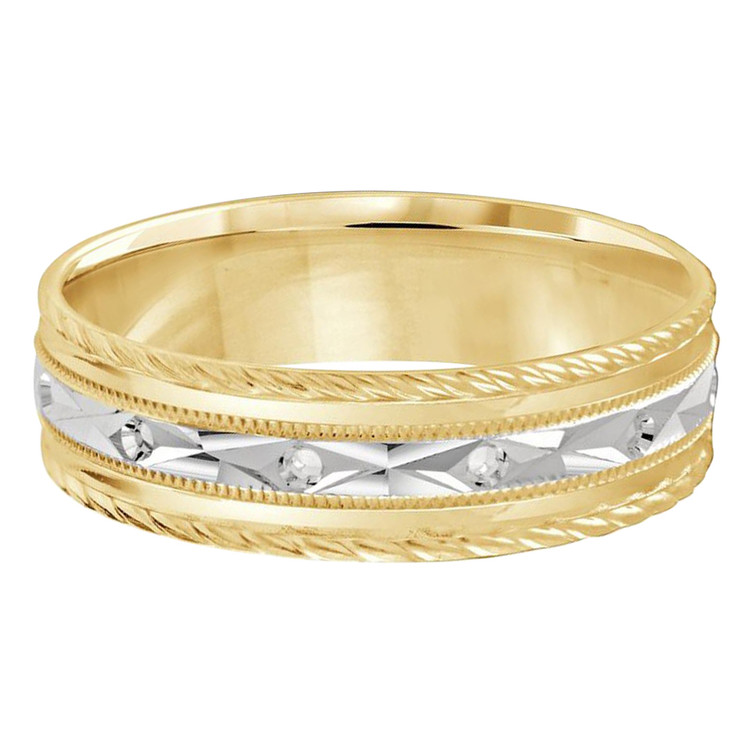 Mens 6 MM two-tone white and yellow gold full diamond cut band with diamond simili accents (MDVB0447)
