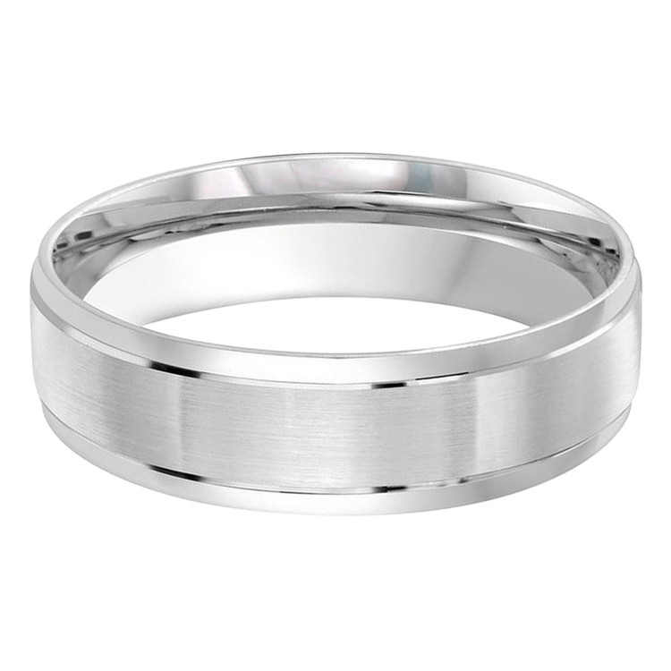 Mens 6 MM all white gold band with satin center (MDVB0455)
