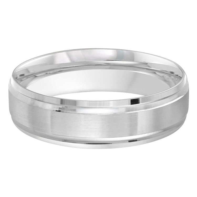 Mens 6 MM all white gold band with satin center (MDVB0459)