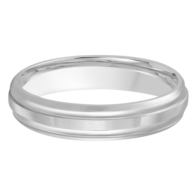 Mens 4 MM all white gold double grooved satin finish band (MDVB0460)