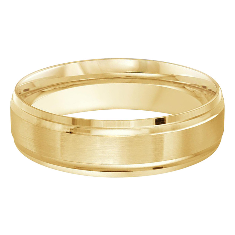 Mens 6 MM all yellow gold band with satin center  (MDVB0462)