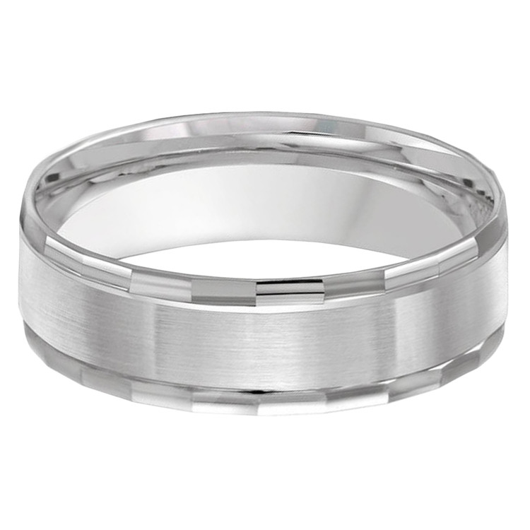 Mens 6 MM all white gold faceted edging band (MDVB0468)