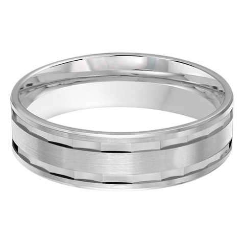 Mens 6 MM all white gold band with faceted center (MDVB0471)