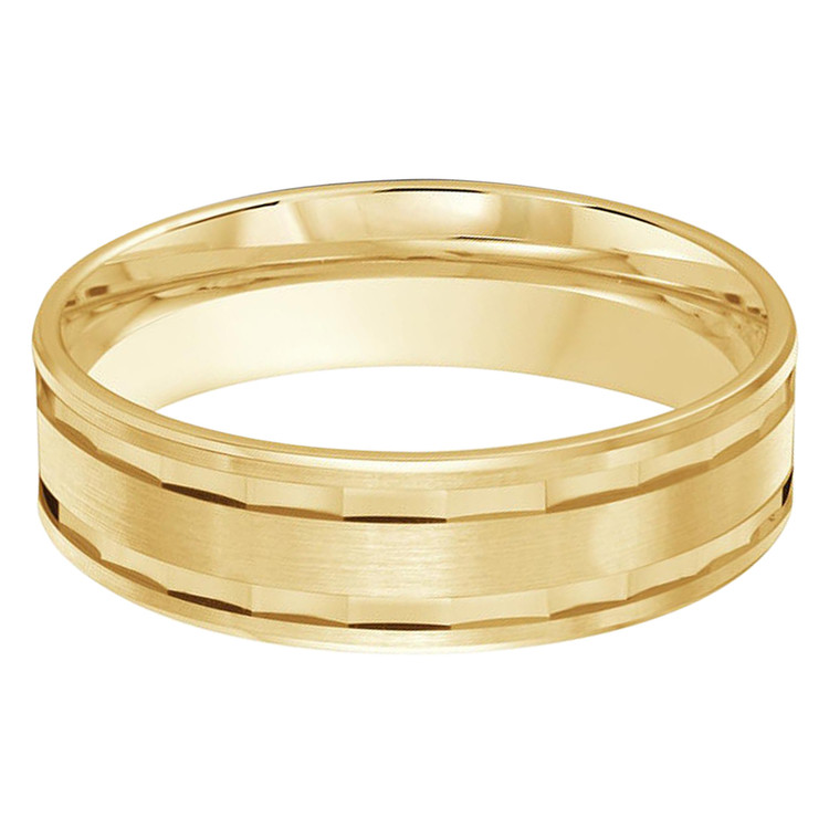 Mens 6 MM all yellow gold band with faceted center (MDVB0472)
