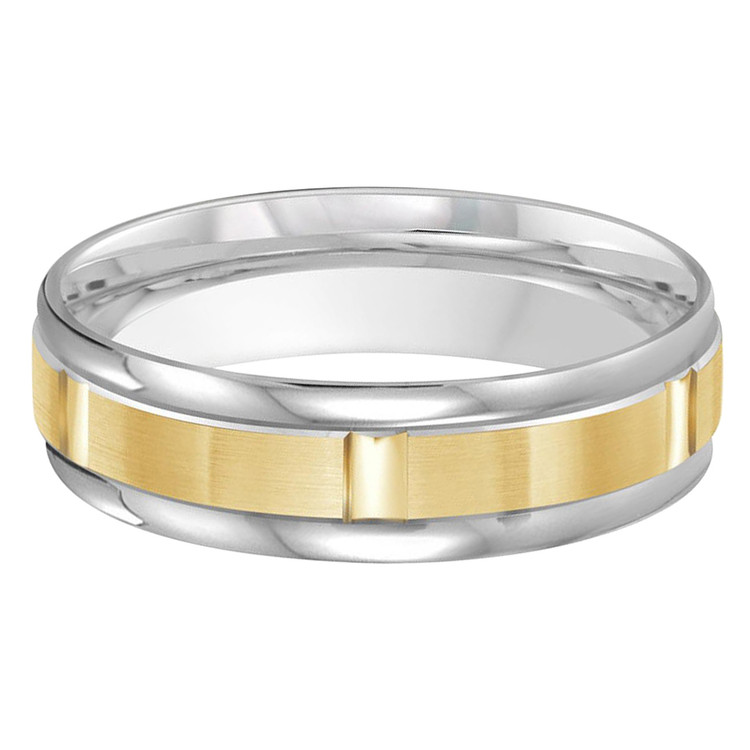 Mens 6 MM two-tone white and yellow gold band with brick motif satin center (MDVB0473)