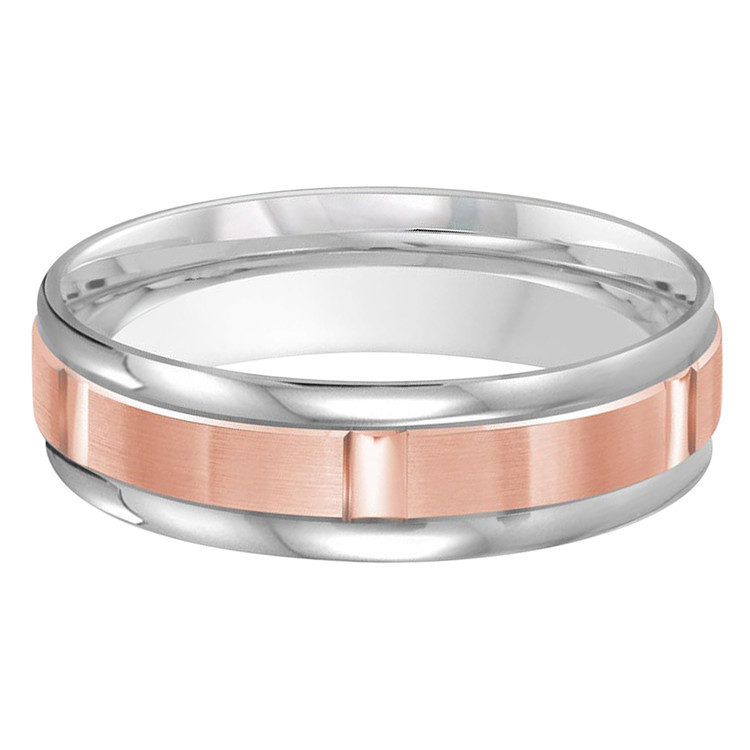 Mens 6 MM two-tone white and rose gold band with brick motif satin center (MDVB0474)