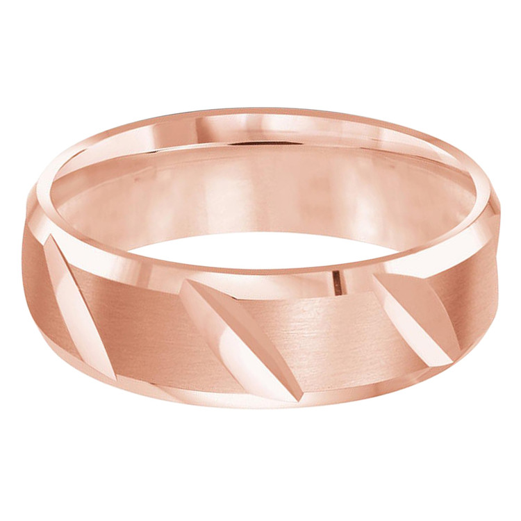 Mens 6 MM all rose gold band with slanted angle satin center (MDVB0477)