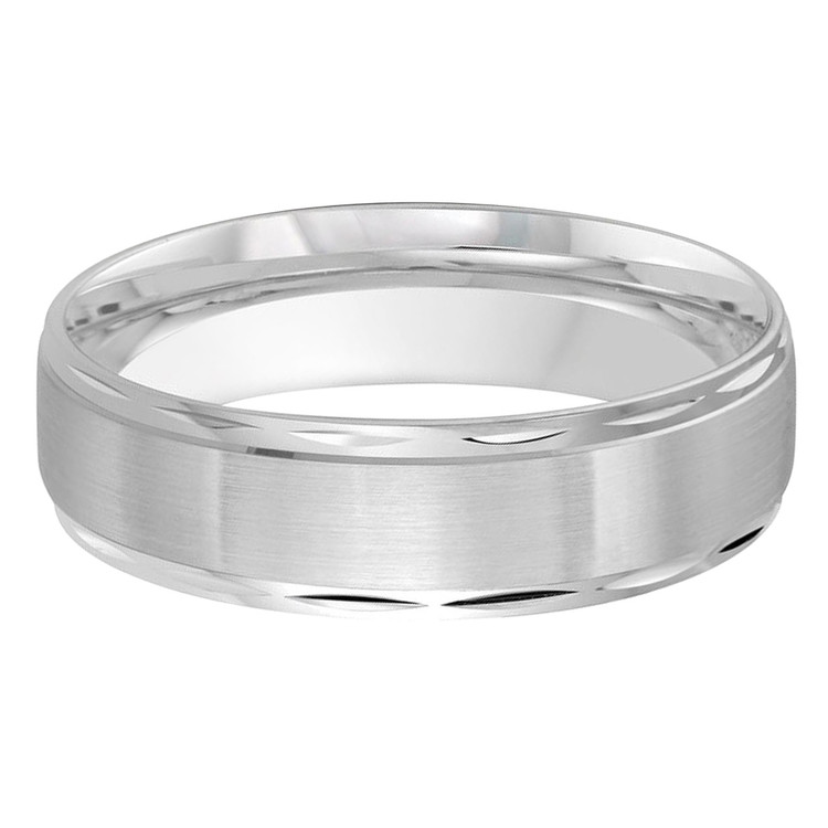 Mens 6 MM all white gold band with compact faceted edging (MDVB0479)