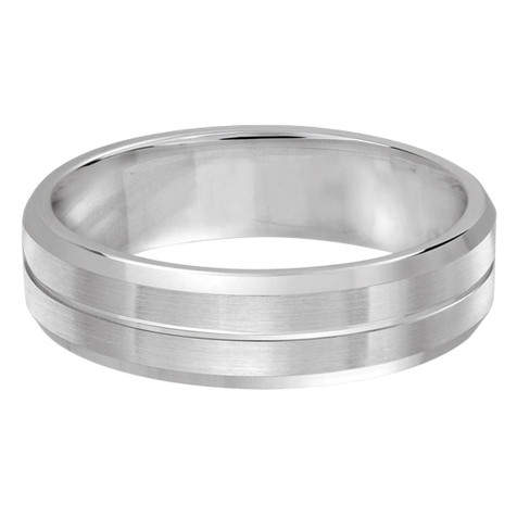 Mens 6 MM all white gold satin finish band with single grooved center (MDVB0482)