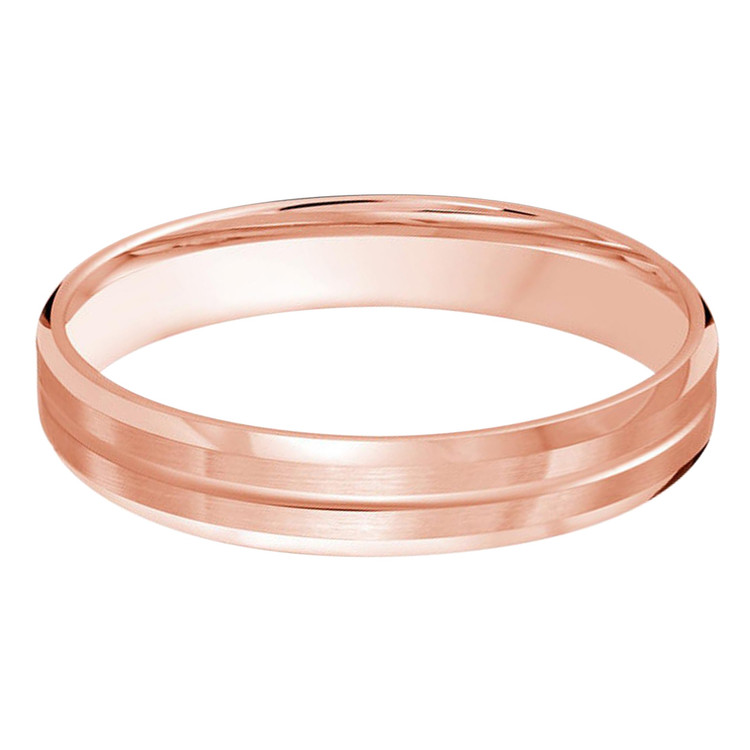 Mens 4 MM all rose gold satin finish band with single grooved center (MDVB0483)