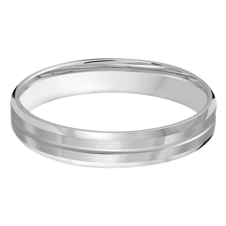 Mens 4 MM all white gold satin finish band with single grooved center (MDVB0484)