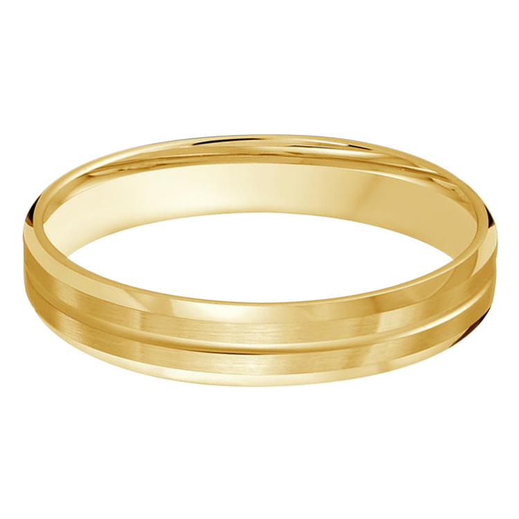 Mens 4 MM all yellow gold satin finish band with single grooved center (MDVB0485)