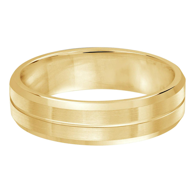 Mens 6 MM all yellow gold satin finish band with single grooved center (MDVB0486)