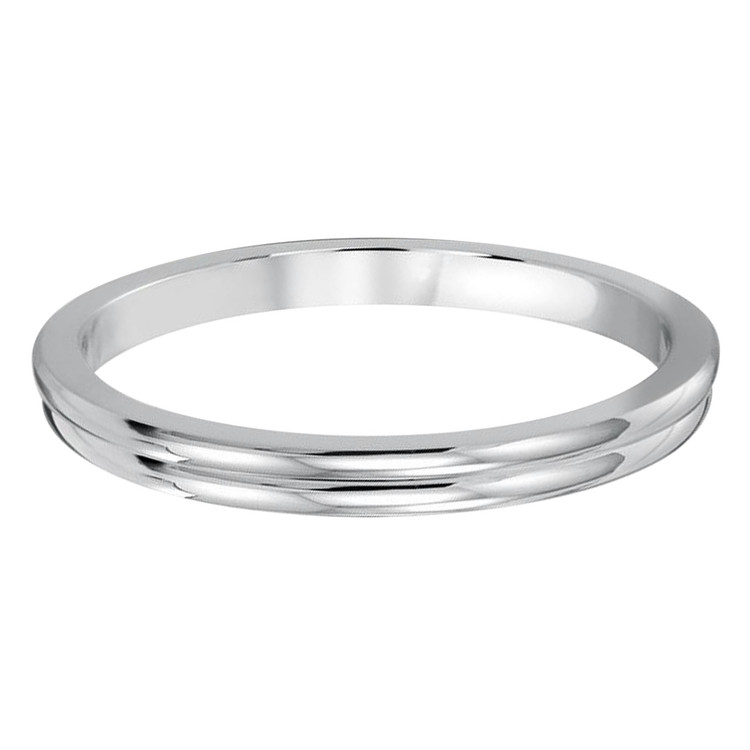 2 MM dual groove white gold matching band (MDVB0505)