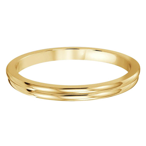 2 MM dual groove yellow gold matching band (MDVB0506)