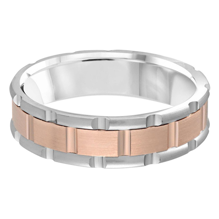 Mens 6 MM two-tone white and rose gold brick motif band (MDVB0588)
