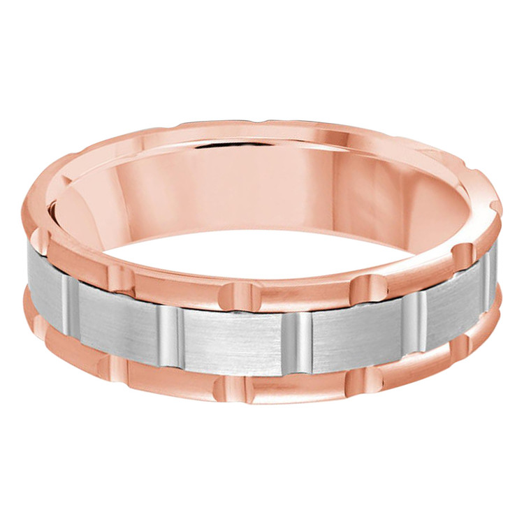 Mens 6 MM two-tone rose and white gold brick motif band (MDVB0589)