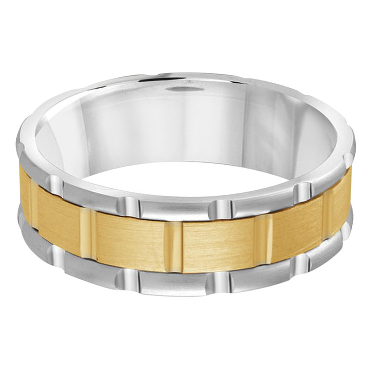 Mens 7 MM two-tone white and yellow gold brick motif band (MDVB0594)