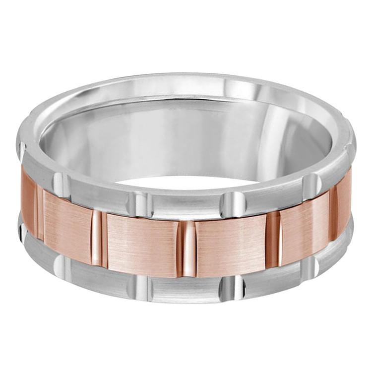 Mens 8 MM two-tone white and rose gold brick motif band (MDVB0595)