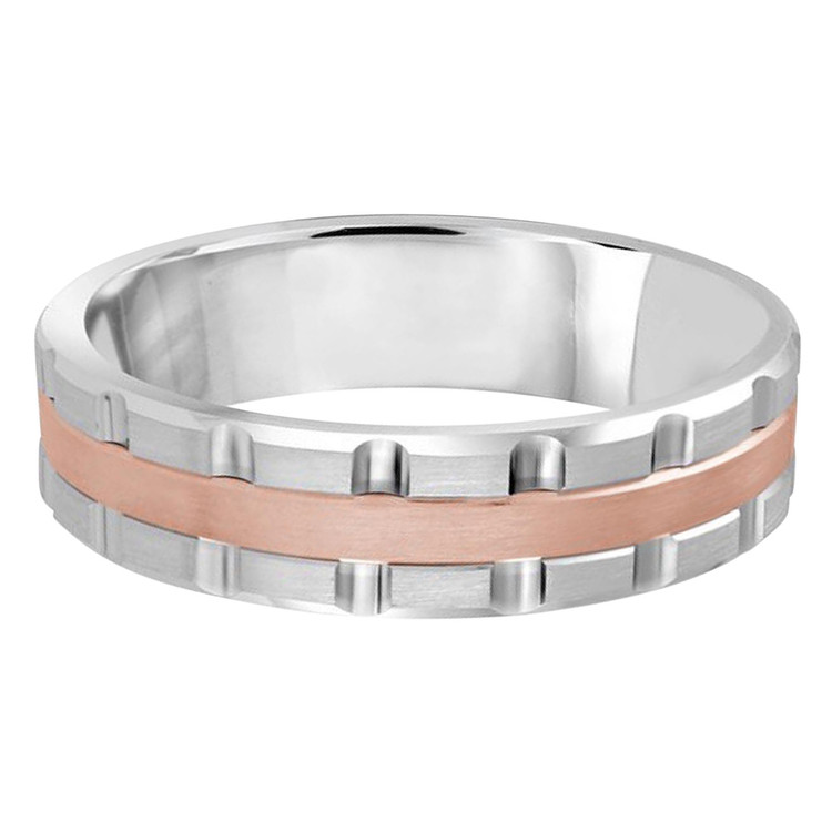 Mens 6 MM two-tone white and rose gold brick motif band (MDVB0599)
