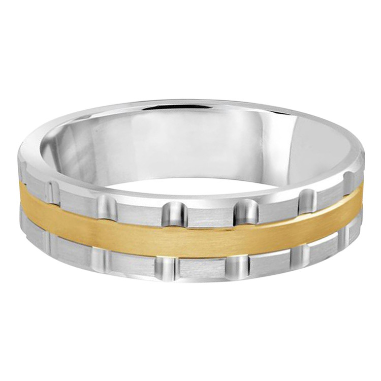 Mens 6 MM two-tone white and yellow gold brick motif band (MDVB0601)