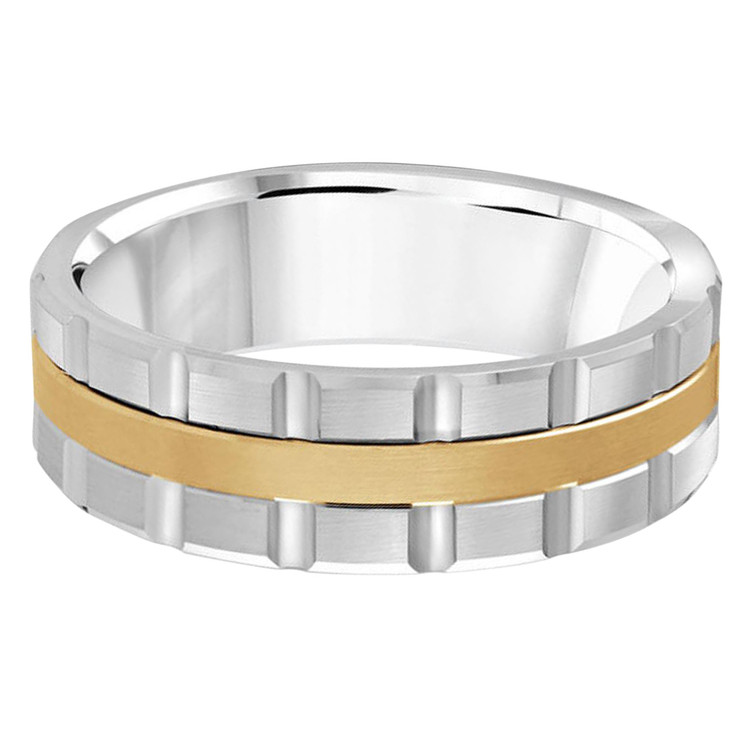 Mens 7 MM two-tone white and yellow gold brick motif band (MDVB0604)