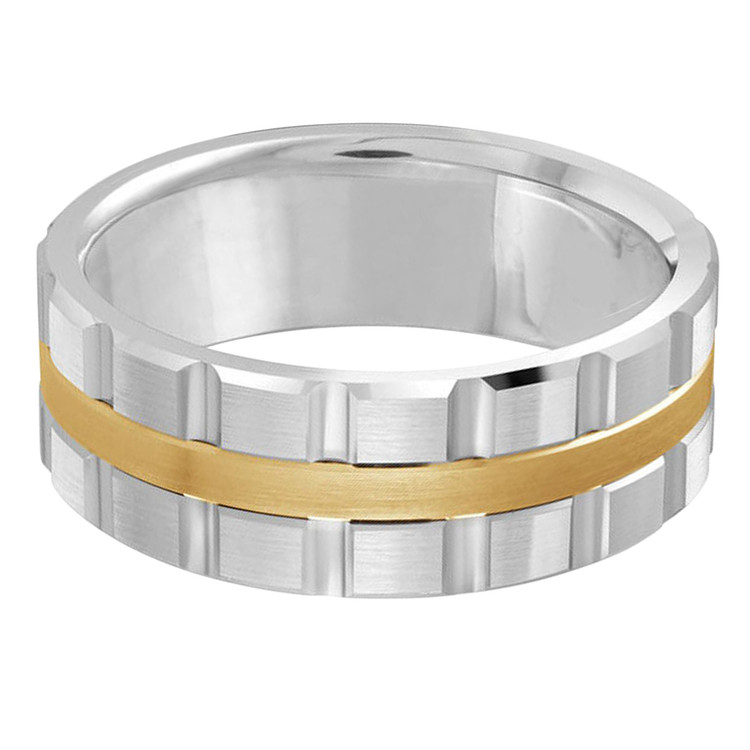 Mens 8 MM two-tone white and yellow gold brick motif band (MDVB0607)