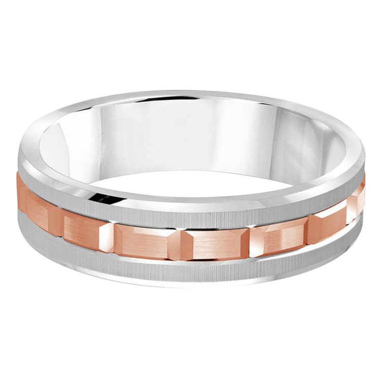 Mens 6 MM two-tone white and rose gold brick motif band (MDVB0608)