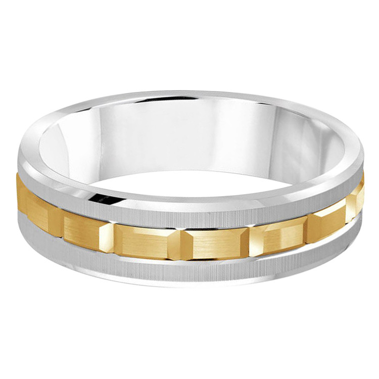 Mens 6 MM two-tone white and yellow gold brick motif band (MDVB0610)