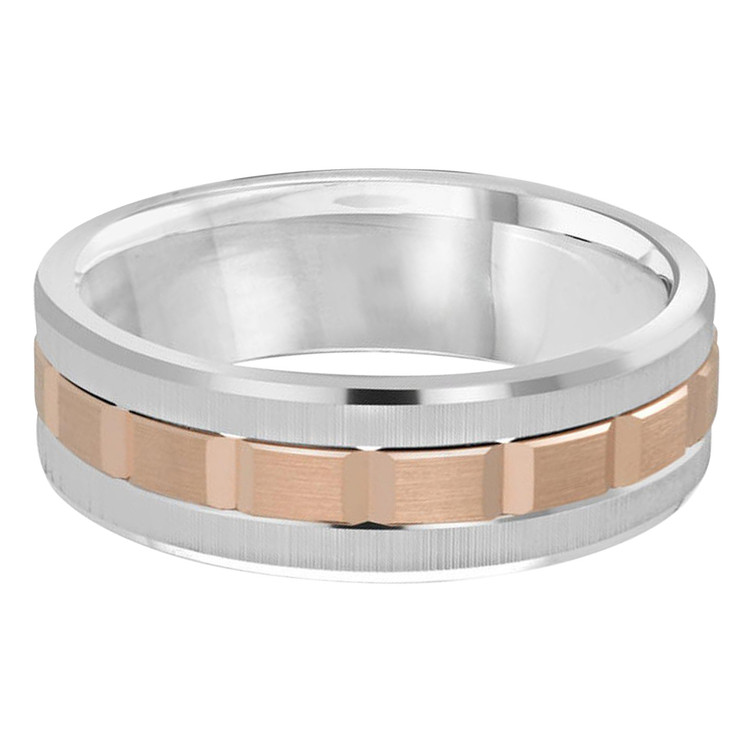 Mens 7 MM two-tone white and rose gold brick motif band (MDVB0611)
