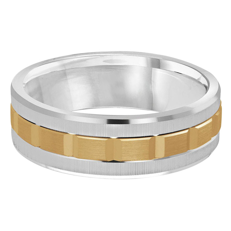Mens 7 MM two-tone white and yellow gold brick motif band (MDVB0613)