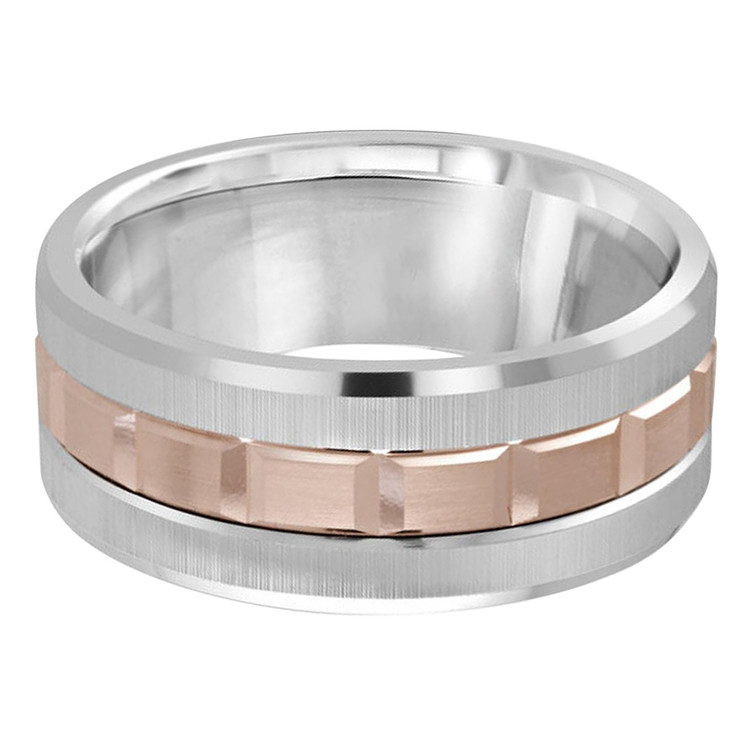 Mens 9 MM two-tone white and rose gold brick motif band (MDVB0614)