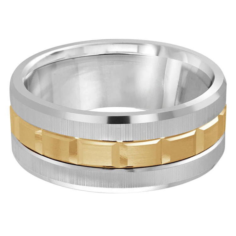 Mens 9 MM two-tone white and yellow gold brick motif band (MDVB0616)