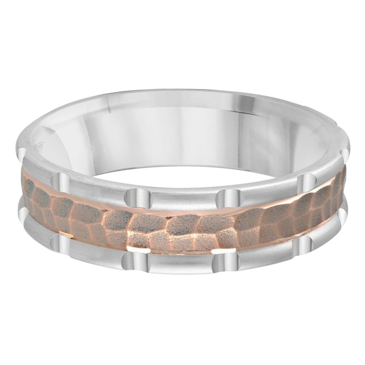 Mens 6 MM two-tone white and rose gold leopard motif center band (MDVB0617)