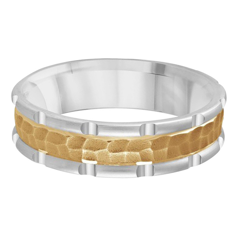 Mens 6 MM two-tone white and yellow gold leopard motif center band (MDVB0618)