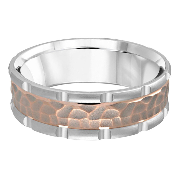 Mens 7 MM two-tone white and rose gold leopard motif center band (MDVB0619)