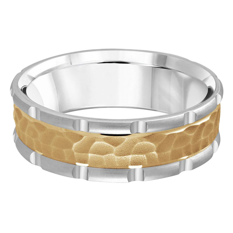 Mens 7 MM two-tone white and yellow gold band with leopard motif center (MDVB0620)