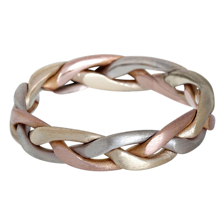 Mens 5 MM tri-color white, yellow and rose gold braided band (MDVB0625)