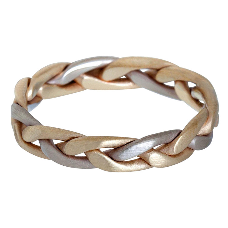 Mens 5 MM two-tone white and yellow gold braided band (MDVB0626)