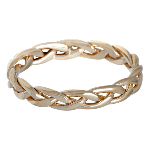 Mens 5 MM all yellow gold braided band (MDVB0627)