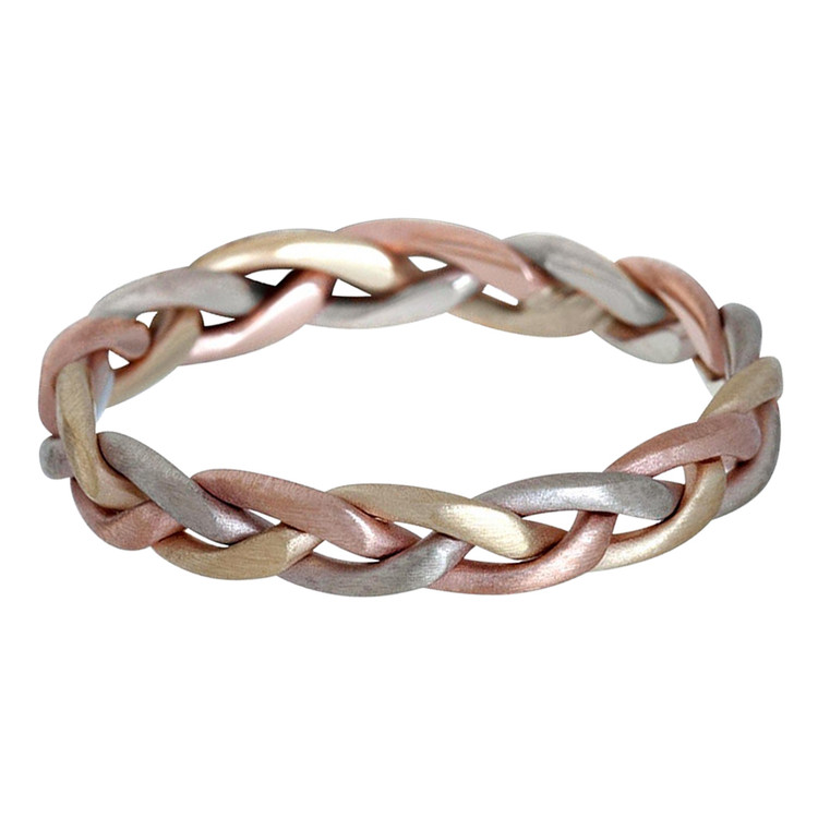 Mens 5 MM tri-color white, yellow and rose gold braided band (MDVB0628)