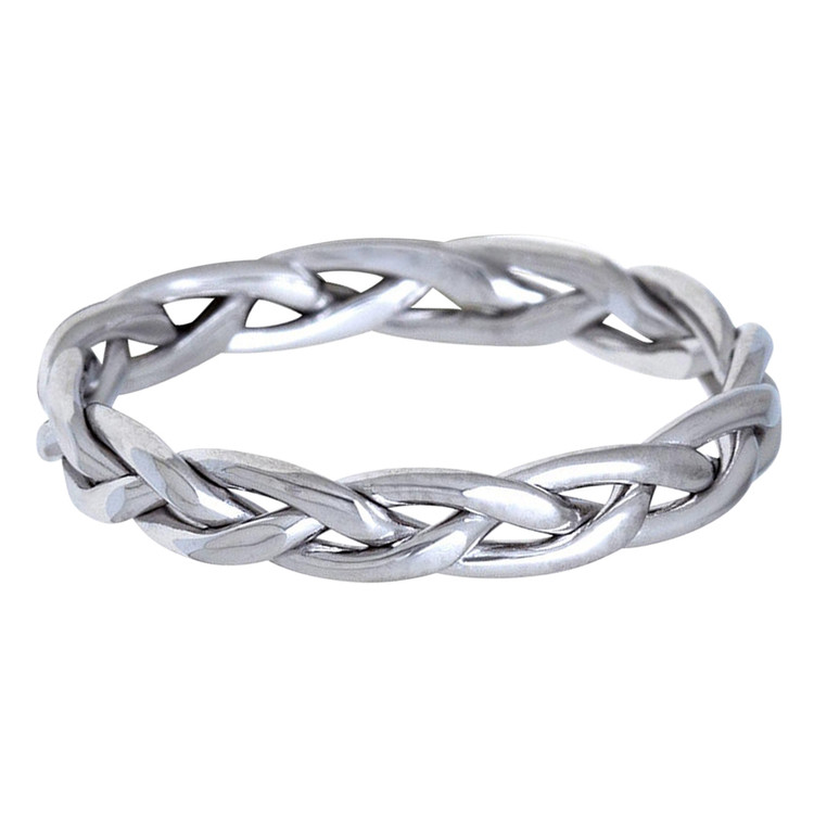 Mens 5 MM all white gold braided band (MDVB0629)