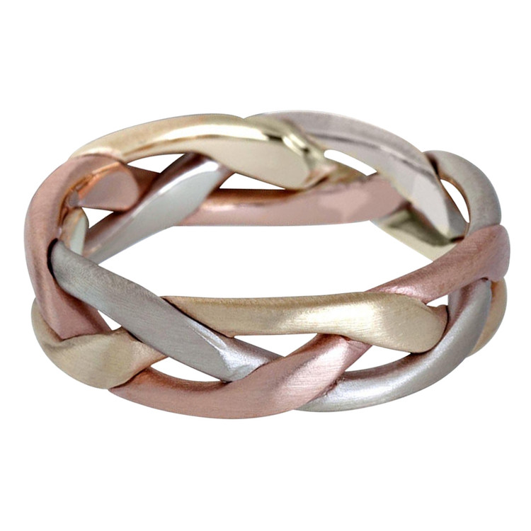 Mens 6 MM tri-color white, yellow and rose gold braided band (MDVB0630)