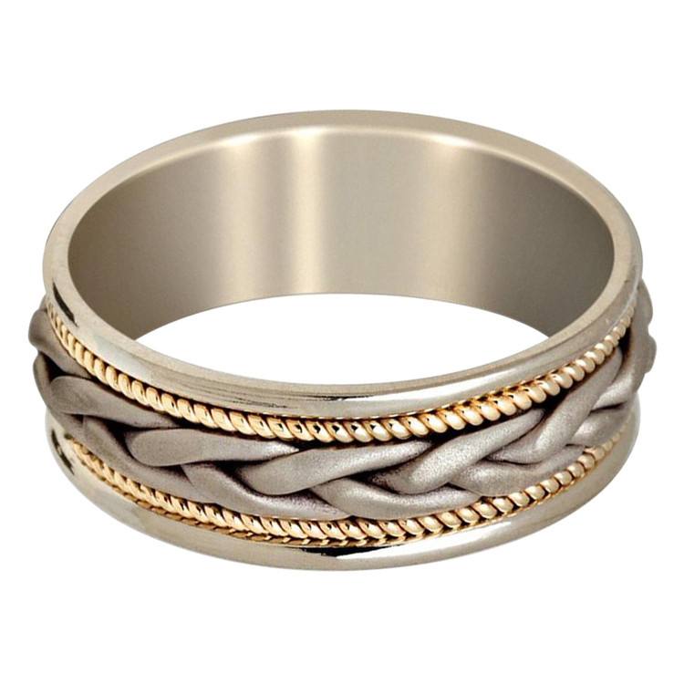 Mens 8 MM two-tone white and yellow gold band with braided center and milgrain detailing (MDVB0638)