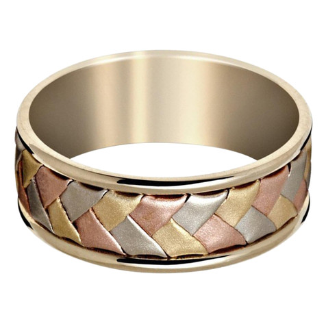 Mens 7 MM white gold band with tri-color white, yellow and rose gold braided center (MDVB0640)