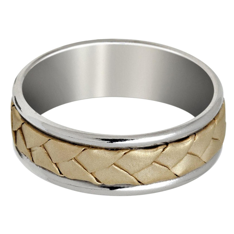 Mens 7 MM white gold band with yellow gold braided center (MDVB0641)